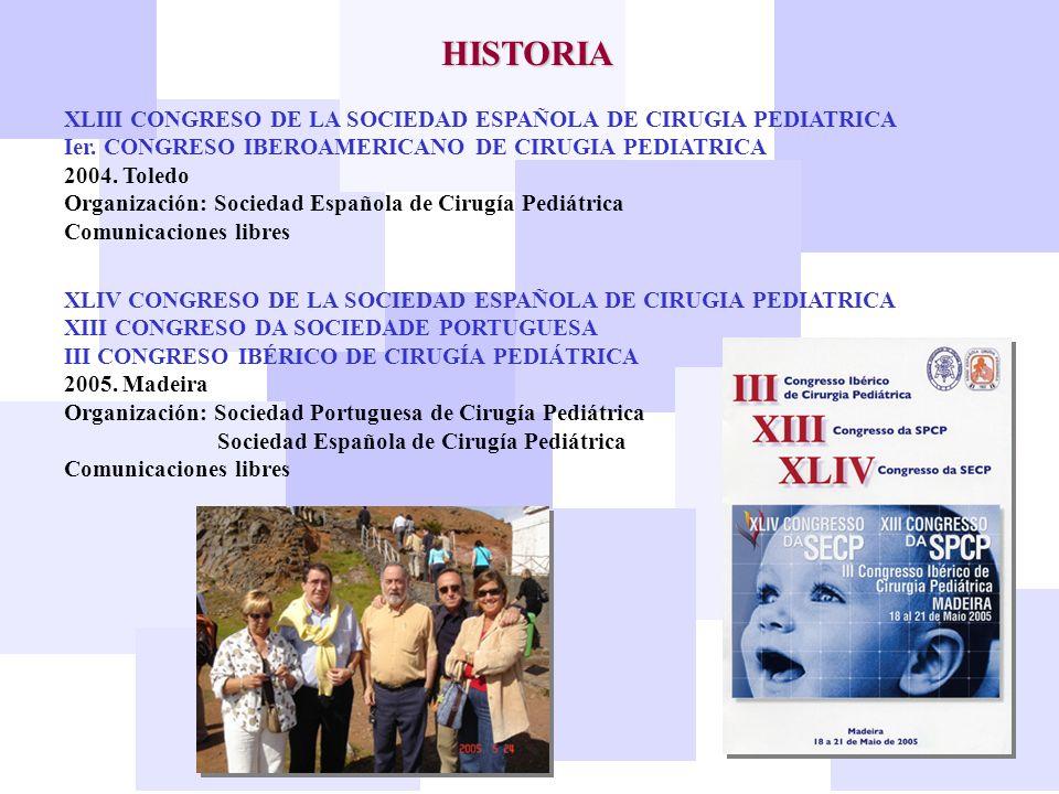HISTORIA XLIII CONGRESO DE LA SOCIEDAD ESPAÑOLA DE CIRUGIA PEDIATRICA