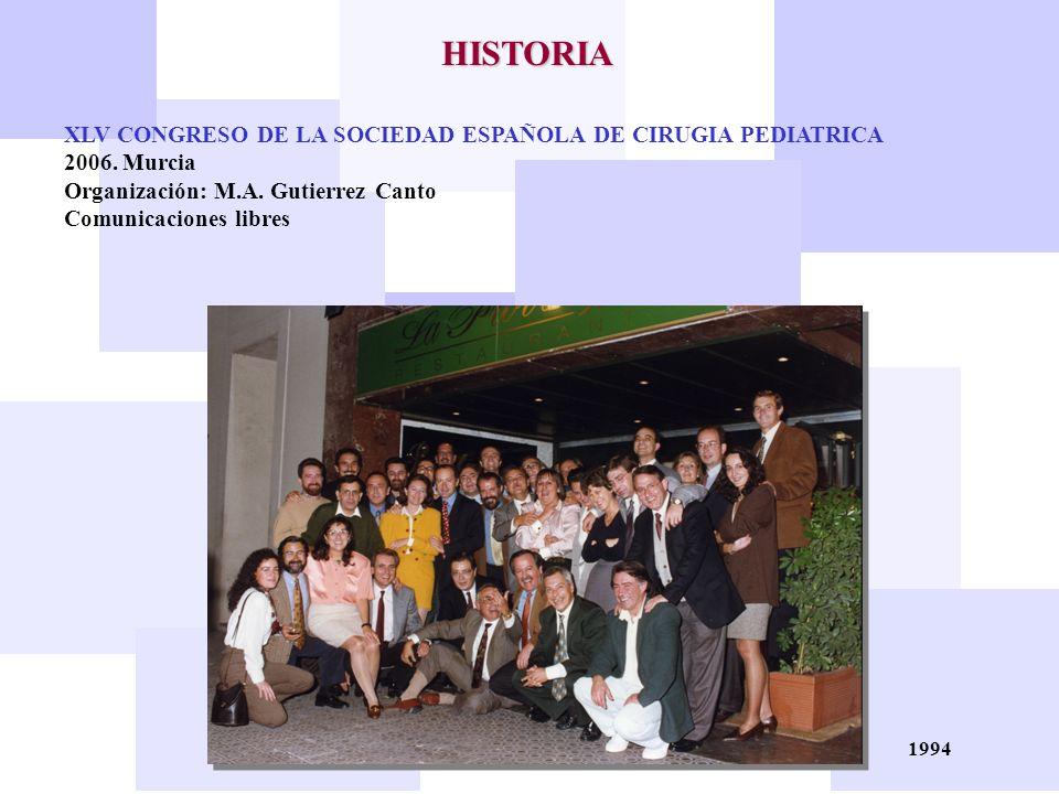 HISTORIA XLV CONGRESO DE LA SOCIEDAD ESPAÑOLA DE CIRUGIA PEDIATRICA
