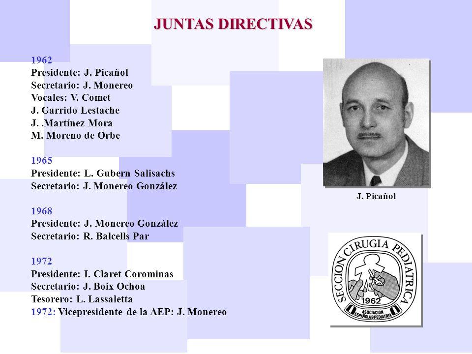 JUNTAS DIRECTIVAS 1962 Presidente: J. Picañol Secretario: J. Monereo