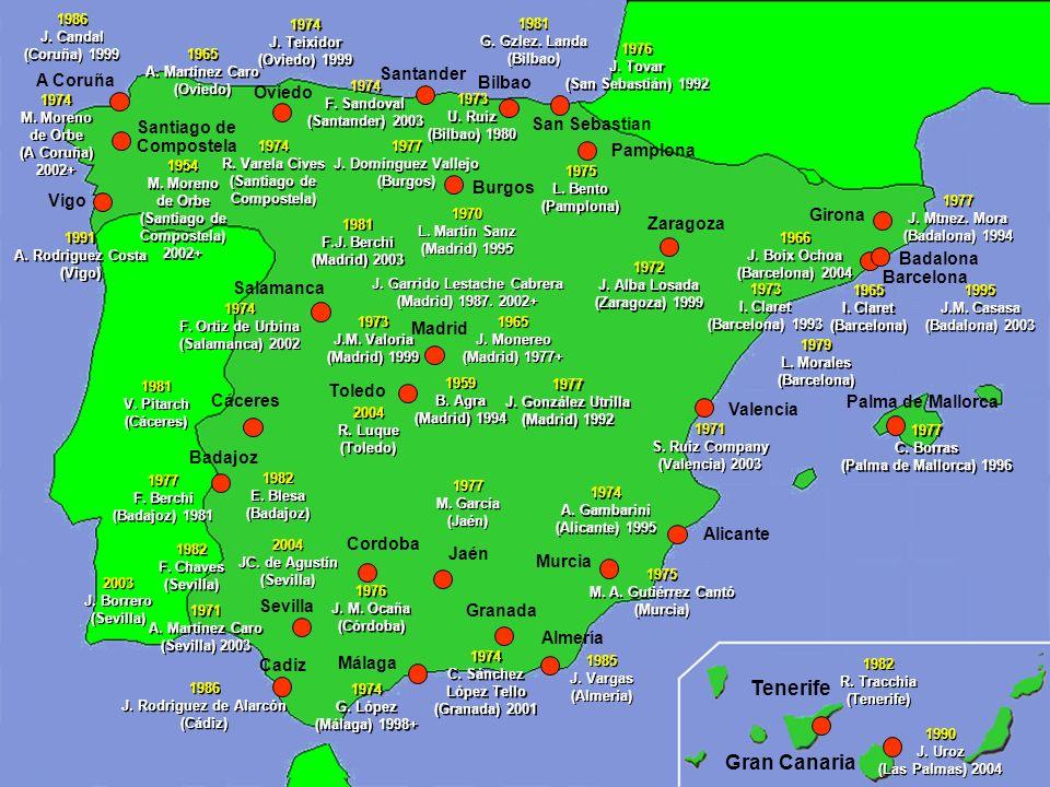 Tenerife Gran Canaria Santander A Coruña Bilbao Oviedo San Sebastian