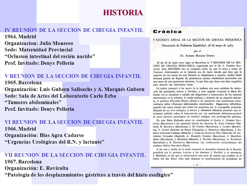 HISTORIA IV REUNION DE LA SECCION DE CIRUGIA INFANTIL 1964. Madrid