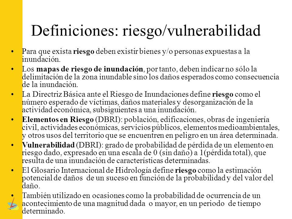 Definiciones: riesgo/vulnerabilidad