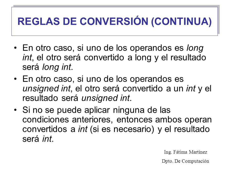 REGLAS DE CONVERSIÓN (CONTINUA)