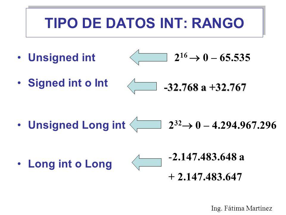 TIPO DE DATOS INT: RANGO