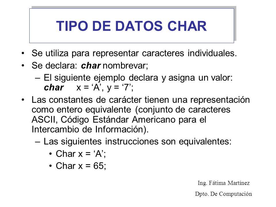 TIPO DE DATOS CHAR Se utiliza para representar caracteres individuales. Se declara: char nombrevar;