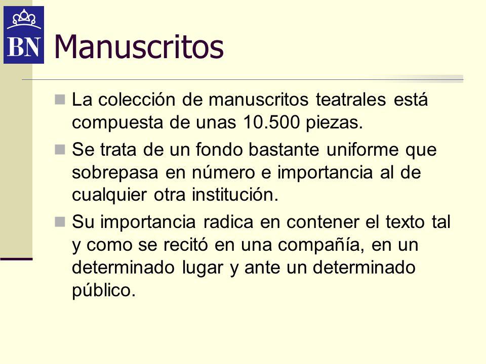 Manuscritos La colección de manuscritos teatrales está compuesta de unas 10.500 piezas.