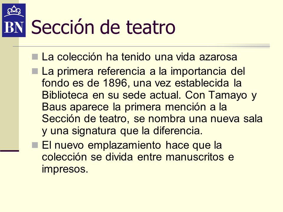 Sección de teatro La colección ha tenido una vida azarosa