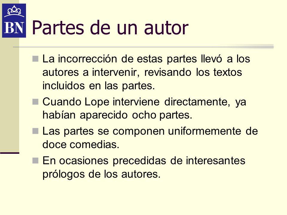 Partes de un autor La incorrección de estas partes llevó a los autores a intervenir, revisando los textos incluidos en las partes.