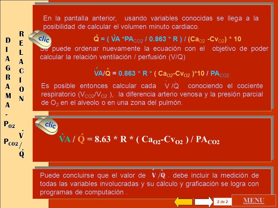 . . . . VA / Q = 8.63 * R * ( CaO2-CvO2 ) / PACO2 RELACION DIAGRAMA -