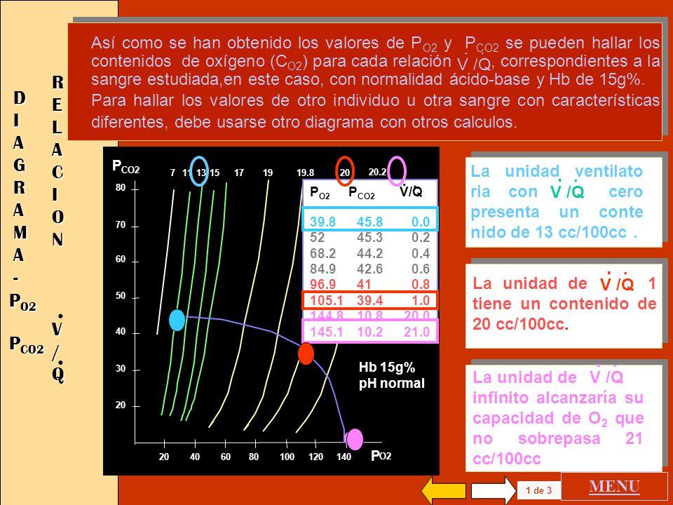 . . . RELACION DIAGRAMA . - V / Q . PO2 PCO2 .