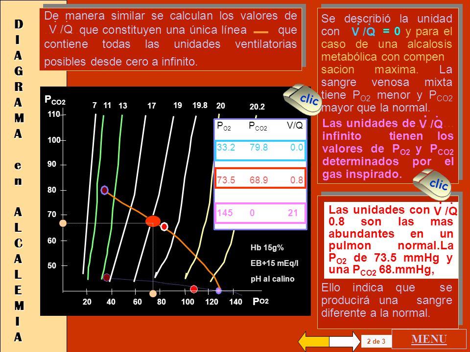 De manera similar se calculan los valores de ………que constituyen una única línea que contiene todas las unidades ventilatorias posibles desde cero a infinito.