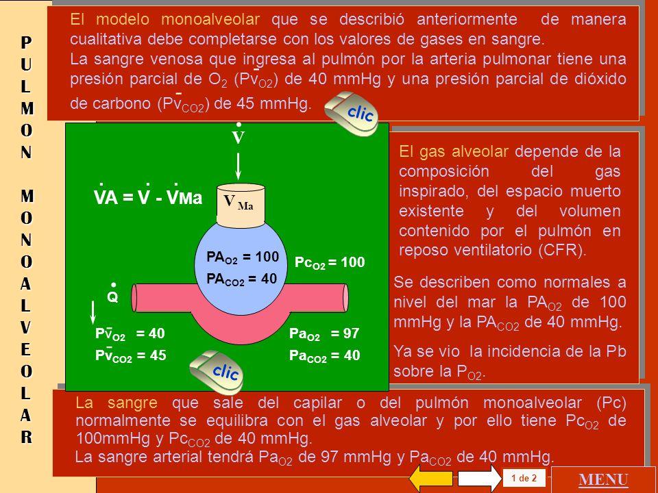 . . - - PULMON MONOALVEOLAR V . VA = V - VMa
