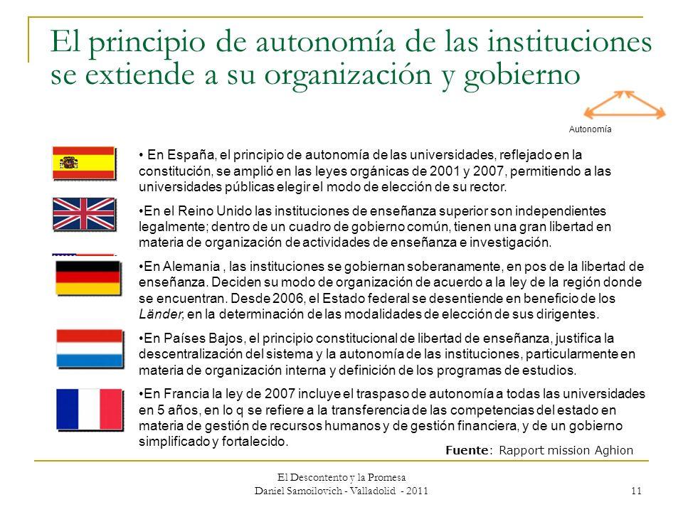 El principio de autonomía de las instituciones se extiende a su organización y gobierno