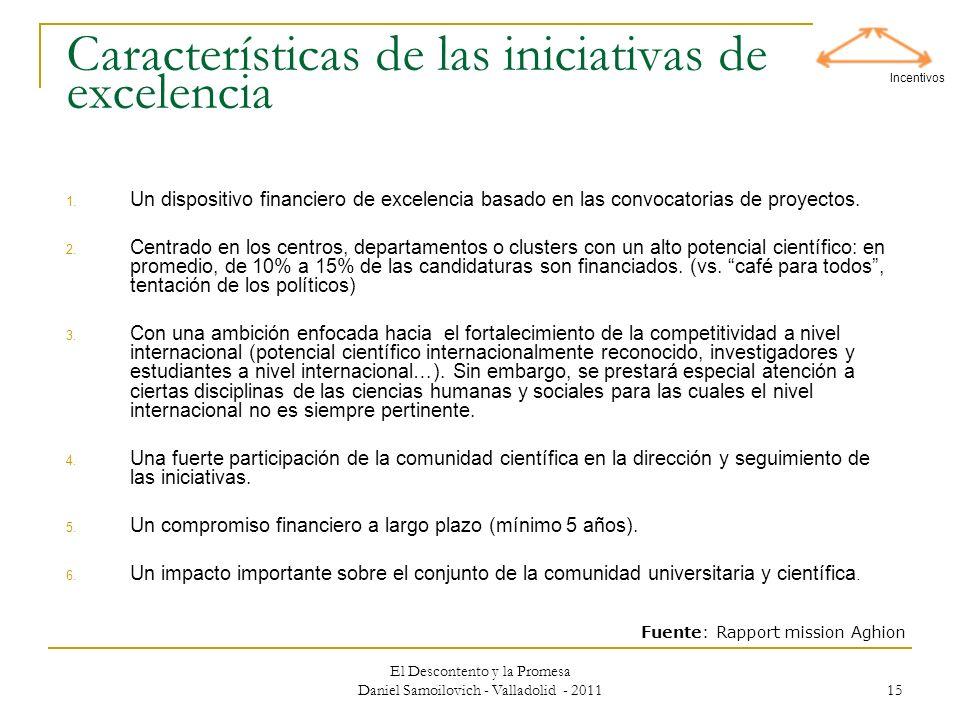 Características de las iniciativas de excelencia