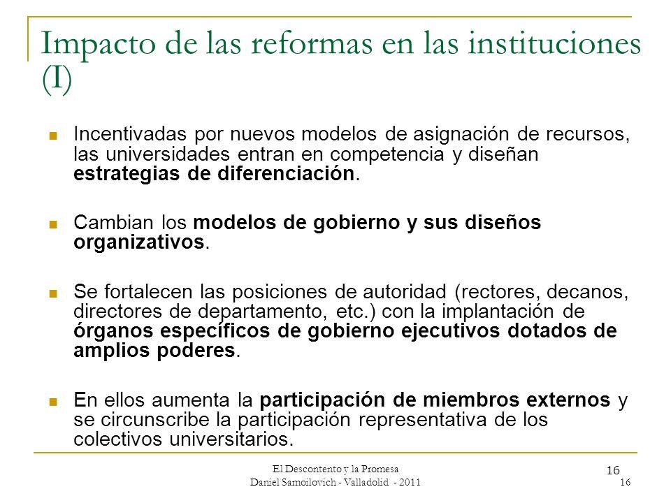 Impacto de las reformas en las instituciones (I)