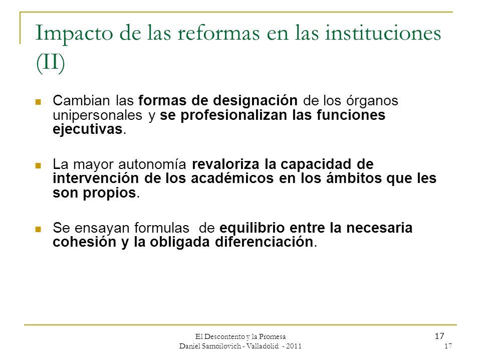 Impacto de las reformas en las instituciones (II)