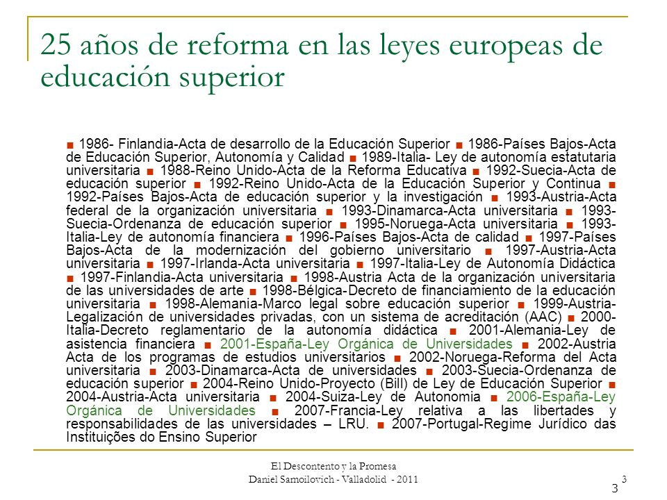 25 años de reforma en las leyes europeas de educación superior