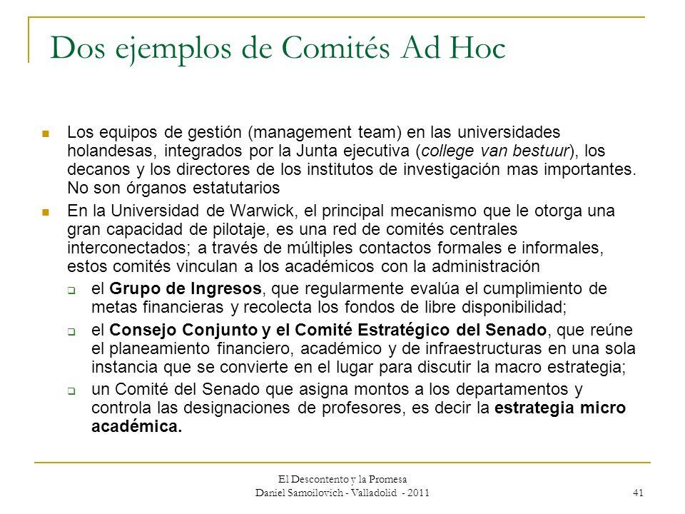 Dos ejemplos de Comités Ad Hoc