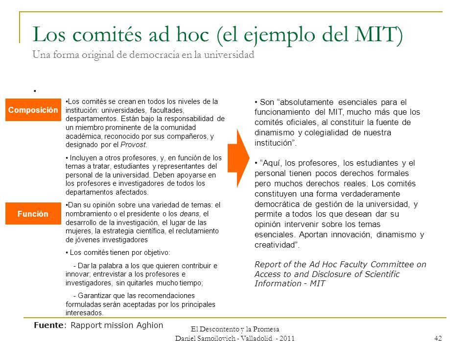 Los comités ad hoc (el ejemplo del MIT) Una forma original de democracia en la universidad