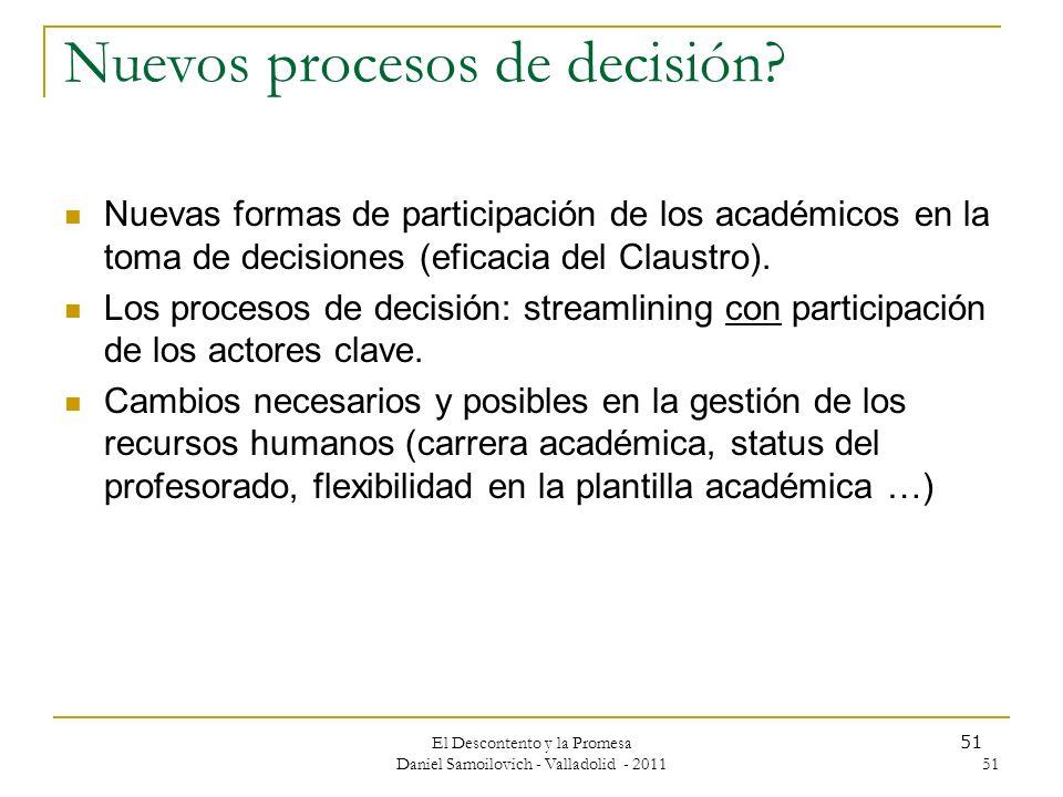 Nuevos procesos de decisión