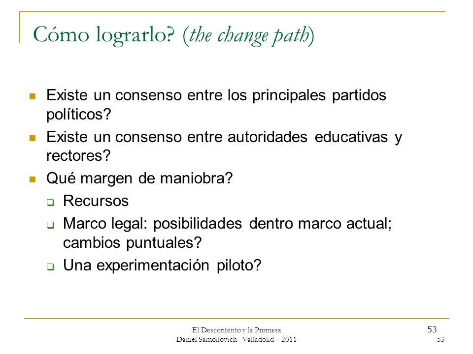Cómo lograrlo (the change path)
