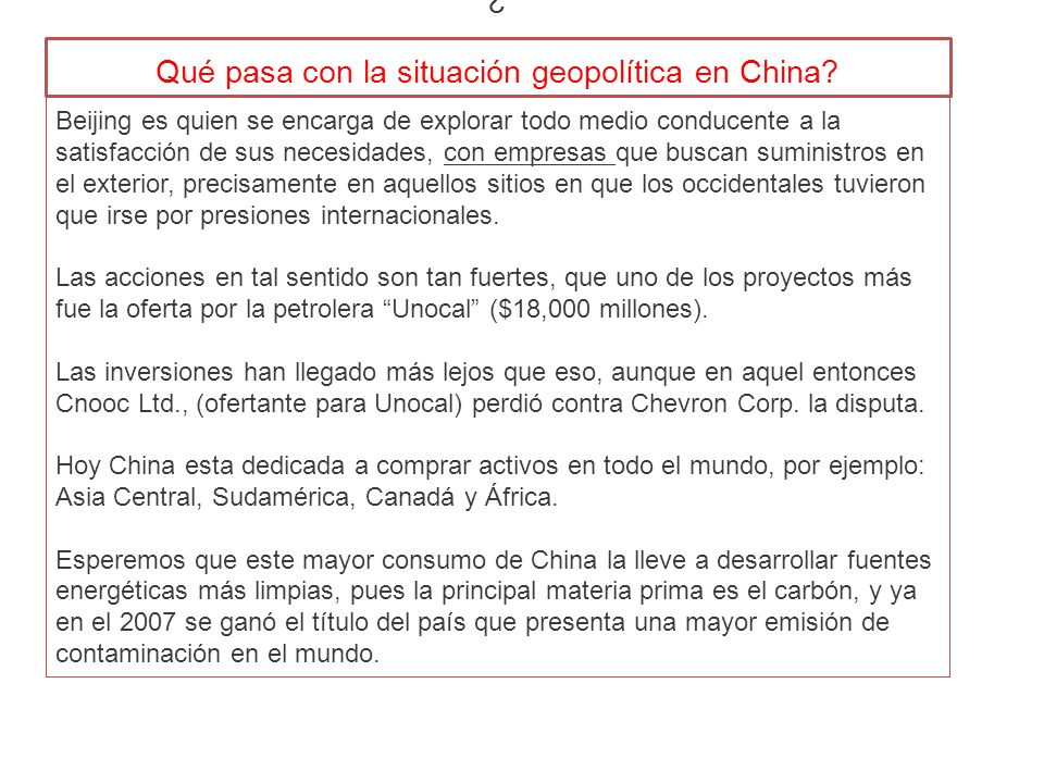 ¿ Qué pasa con la situación geopolítica en China