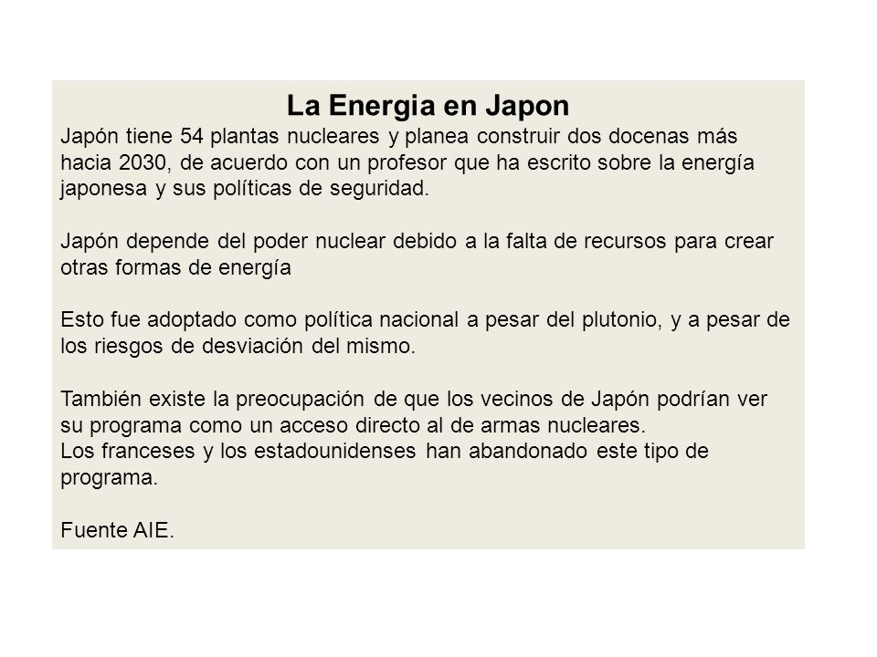 La Energia en Japon