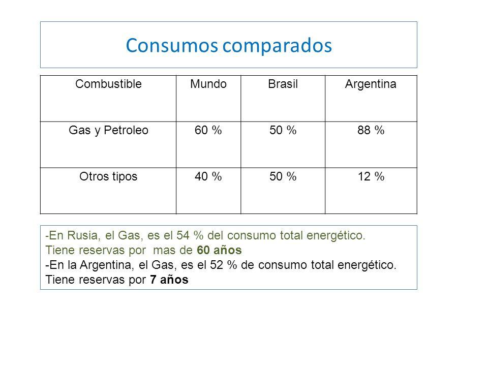 Consumos comparados Combustible Mundo Brasil Argentina Gas y Petroleo