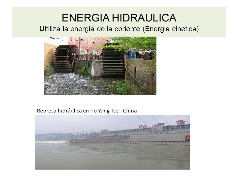 ENERGIA HIDRAULICA Ultiliza la energia de la coriente (Energia cinetica)