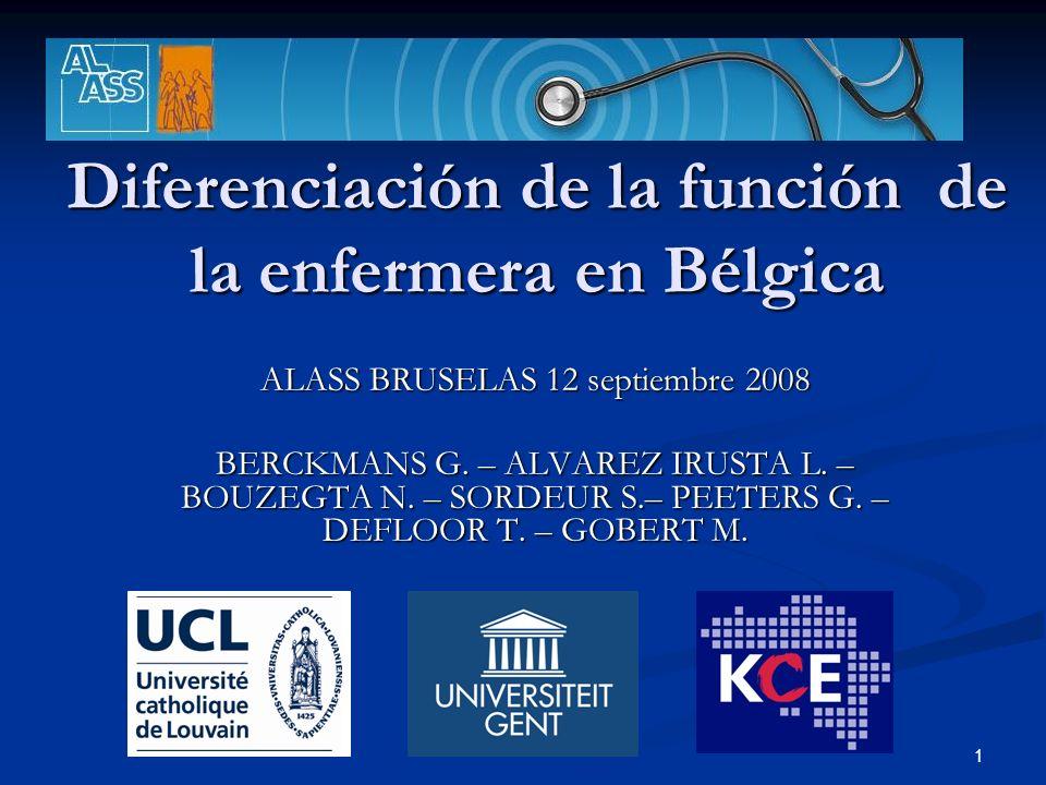 Diferenciación de la función de la enfermera en Bélgica