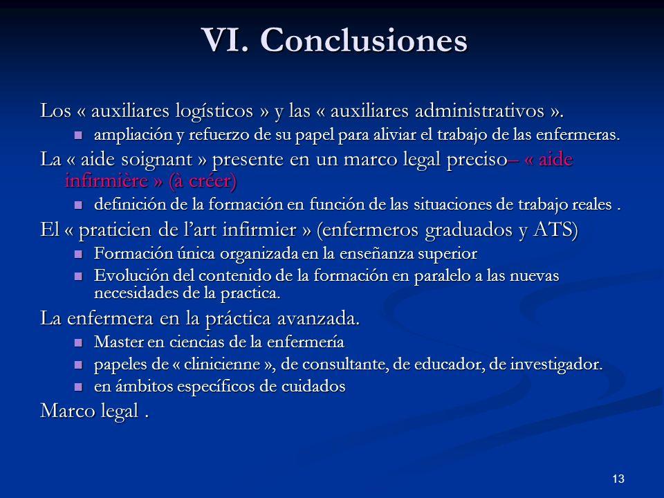 VI. Conclusiones Los « auxiliares logísticos » y las « auxiliares administrativos ».