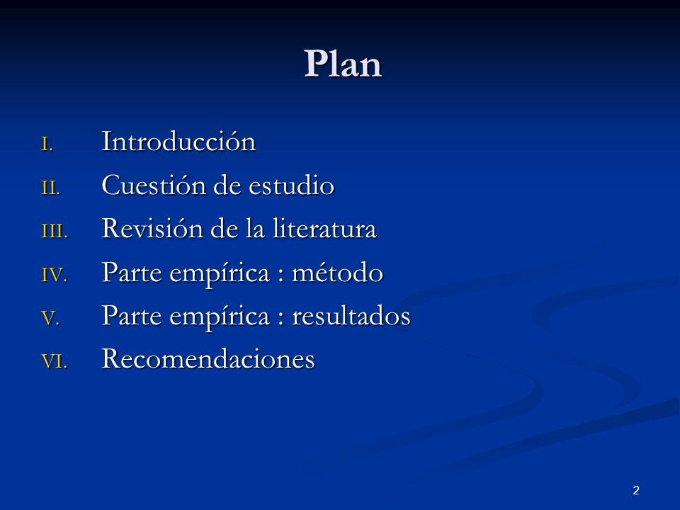 Plan Introducción Cuestión de estudio Revisión de la literatura
