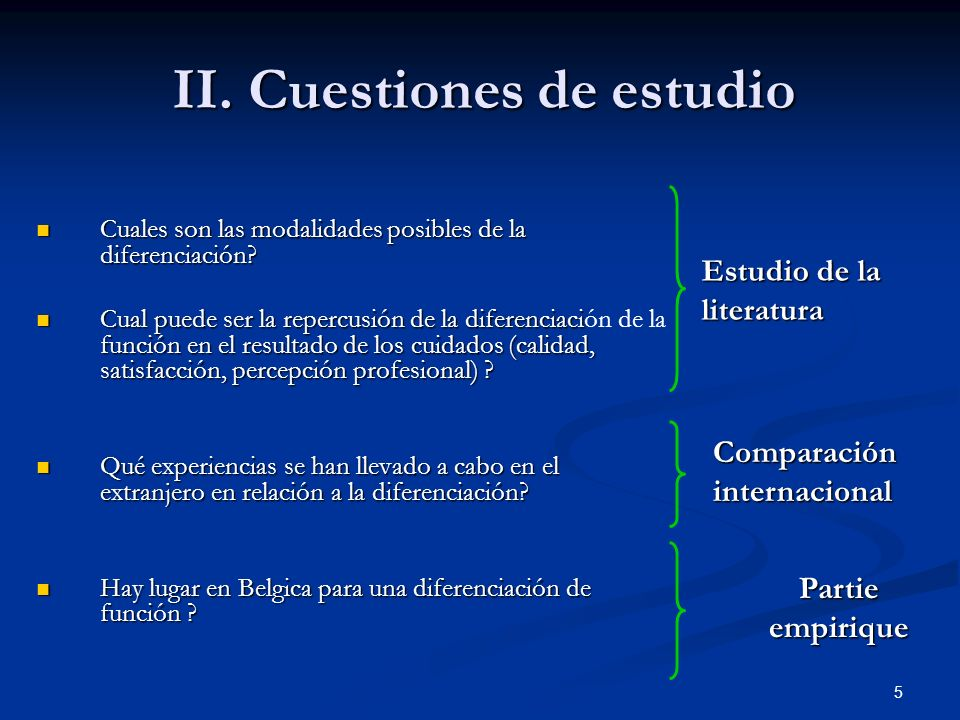 II. Cuestiones de estudio