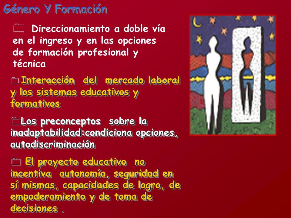 Género Y Formación Direccionamiento a doble vía en el ingreso y en las opciones de formación profesional y técnica.