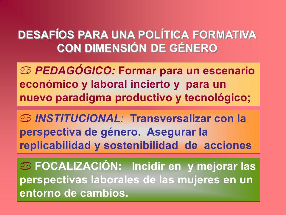DESAFÍOS PARA UNA POLÍTICA FORMATIVA CON DIMENSIÓN DE GÉNERO