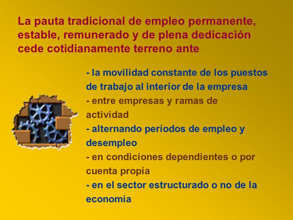 La pauta tradicional de empleo permanente, estable, remunerado y de plena dedicación cede cotidianamente terreno ante