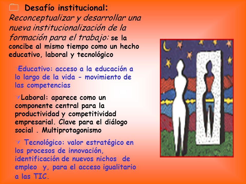 Desafío institucional: Reconceptualizar y desarrollar una nueva institucionalización de la formación para el trabajo: se la concibe al mismo tiempo como un hecho educativo, laboral y tecnológico