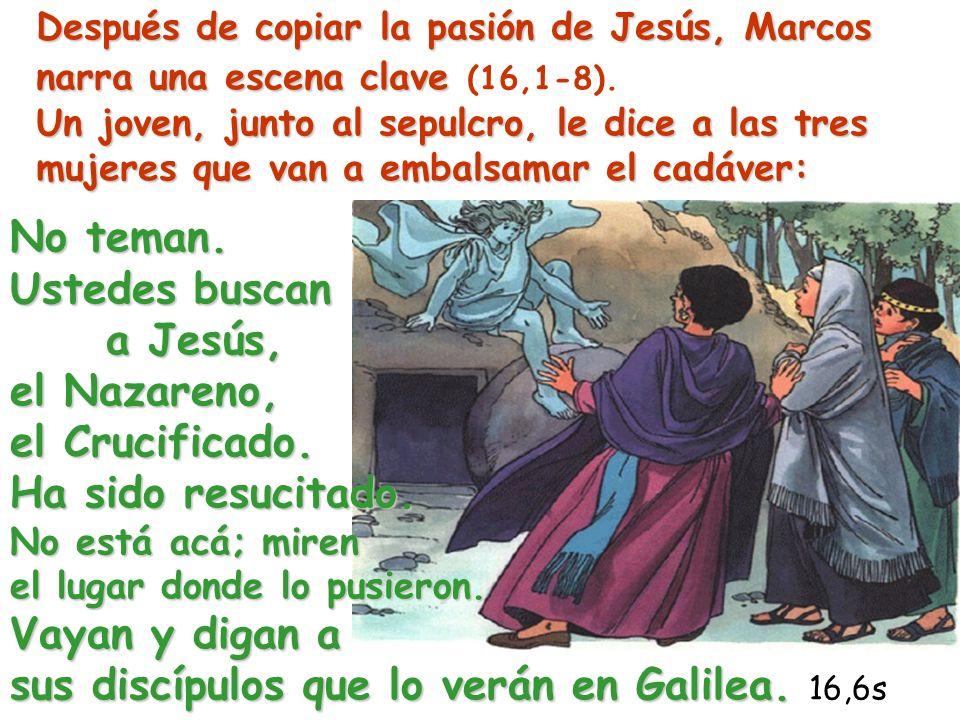 Después de copiar la pasión de Jesús, Marcos narra una escena clave (16,1-8). Un joven, junto al sepulcro, le dice a las tres mujeres que van a embalsamar el cadáver: