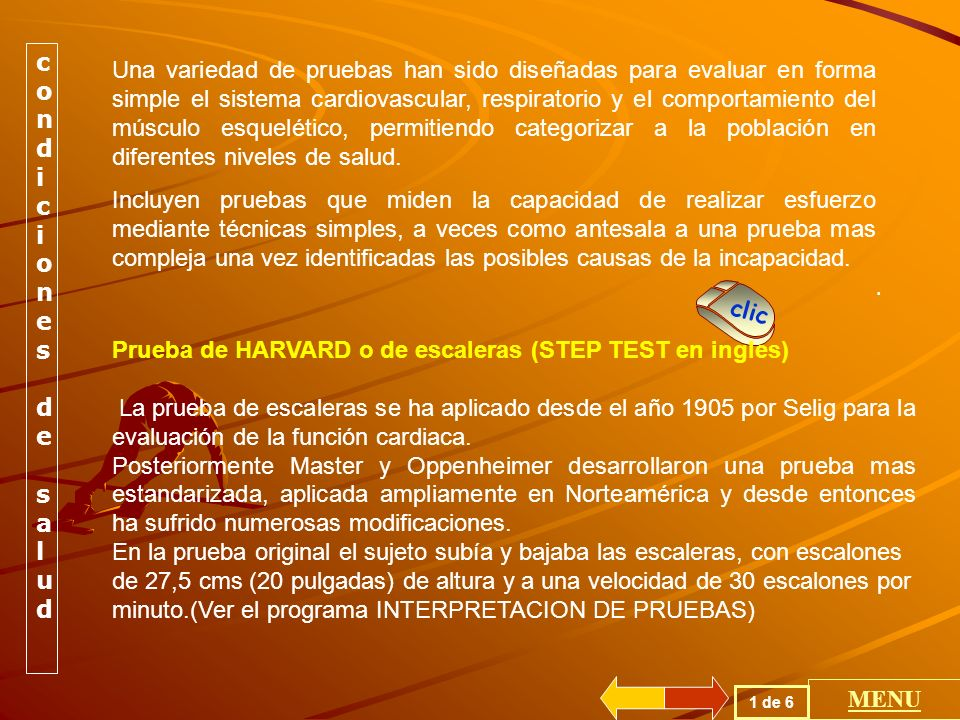 Prueba de HARVARD o de escaleras (STEP TEST en ingles)