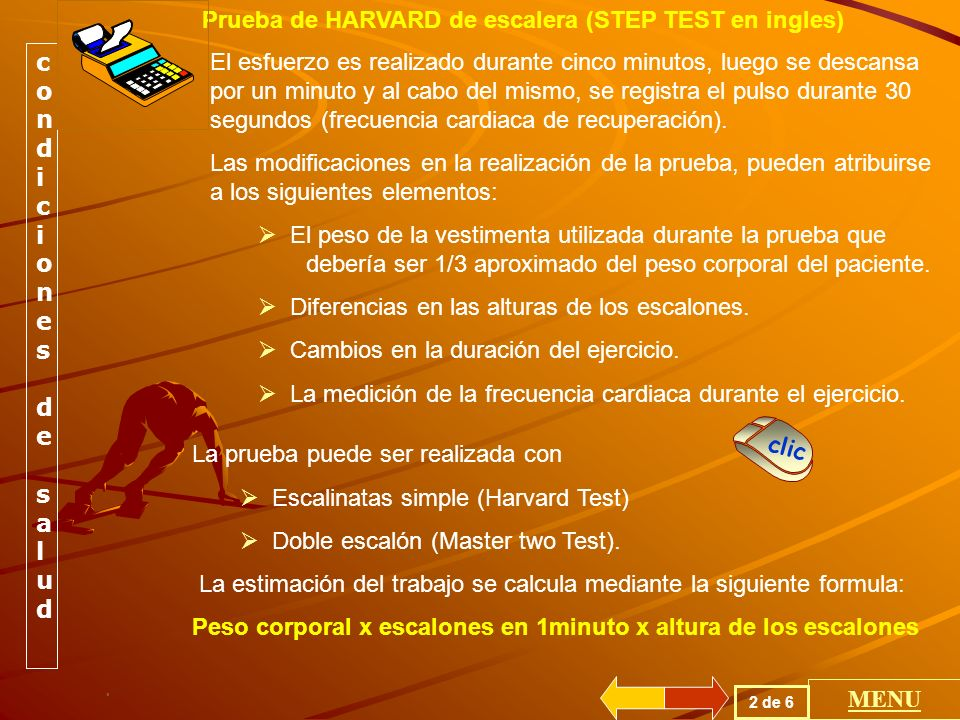 Prueba de HARVARD de escalera (STEP TEST en ingles)