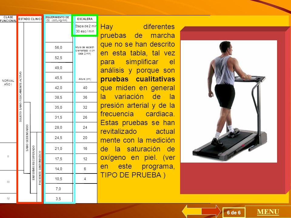 CLASE FUNCIONAL. REQUERIMIENTO DE. O2. (ccO. 2. /Kg/min) ESCALERA. MALKE. CICLO ERGOMETRO. VATIO.