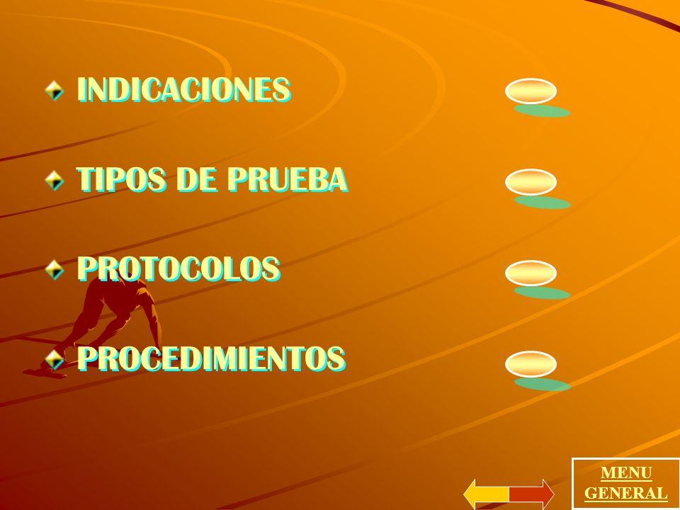 INDICACIONES TIPOS DE PRUEBA PROTOCOLOS PROCEDIMIENTOS MENU GENERAL