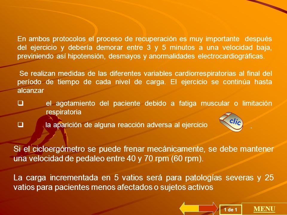 En ambos protocolos el proceso de recuperación es muy importante después del ejercicio y debería demorar entre 3 y 5 minutos a una velocidad baja, previniendo así hipotensión, desmayos y anormalidades electrocardiográficas.