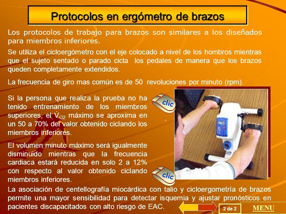 Protocolos en ergómetro de brazos