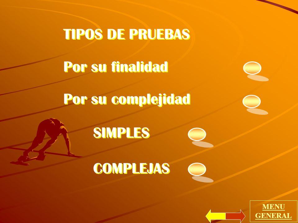 TIPOS DE PRUEBAS Por su finalidad Por su complejidad SIMPLES COMPLEJAS