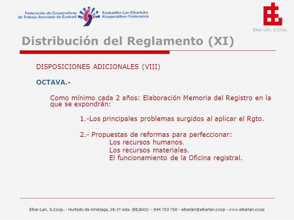 Distribución del Reglamento (XI)