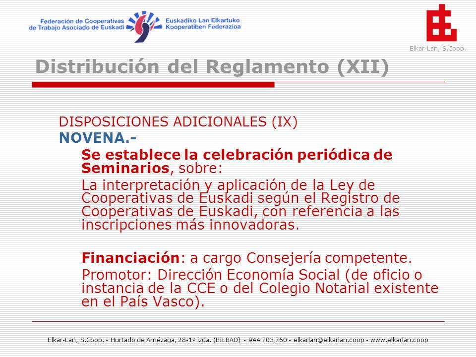 Distribución del Reglamento (XII)