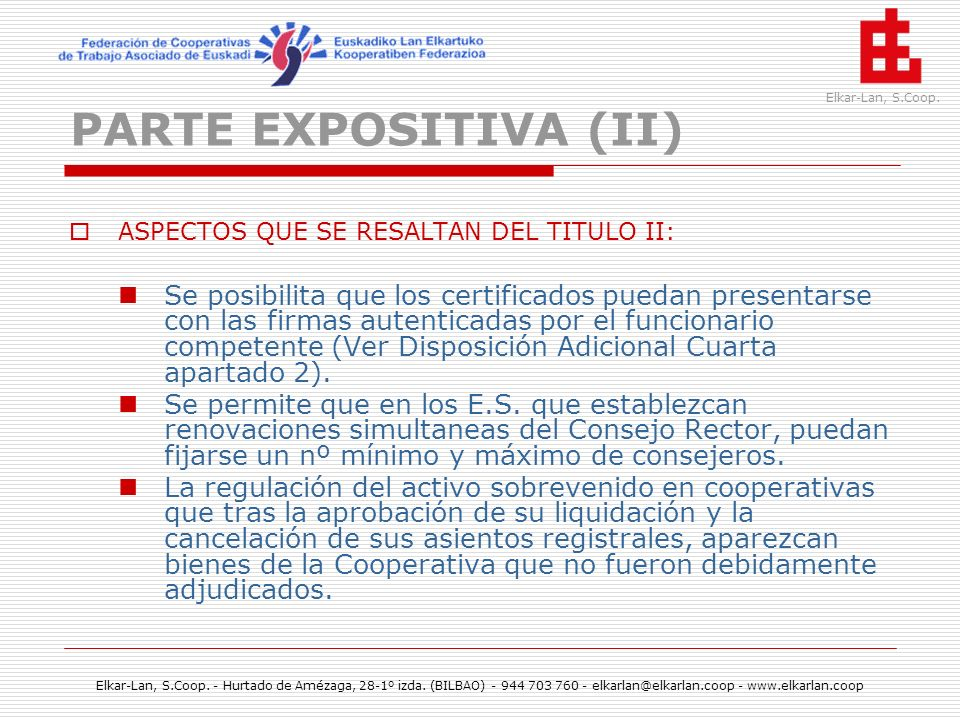 PARTE EXPOSITIVA (II) ASPECTOS QUE SE RESALTAN DEL TITULO II: