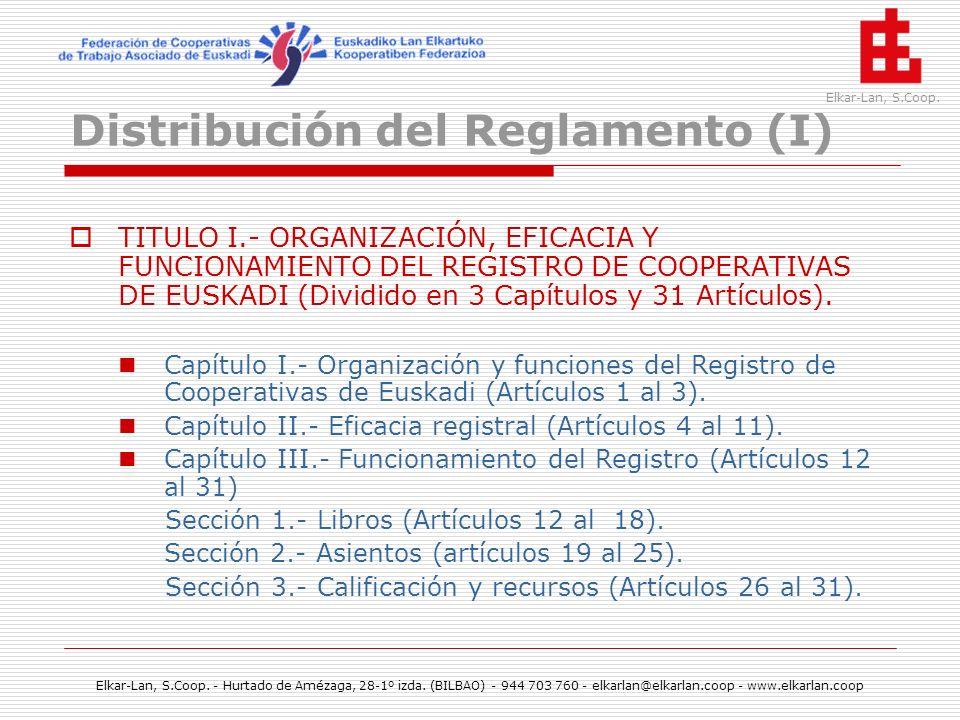 Distribución del Reglamento (I)