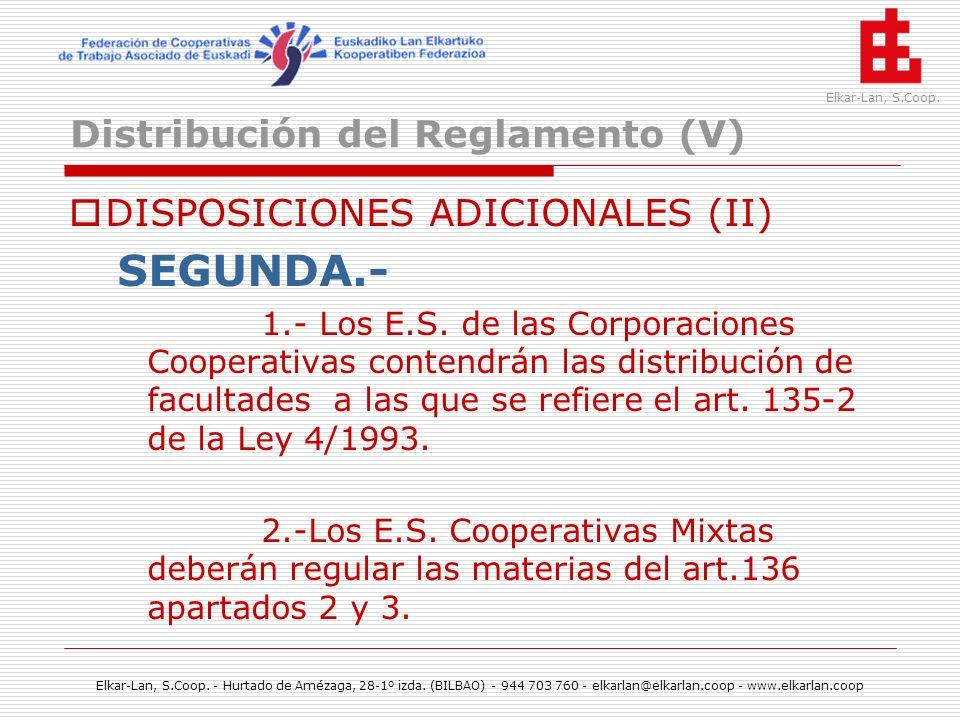 Distribución del Reglamento (V)